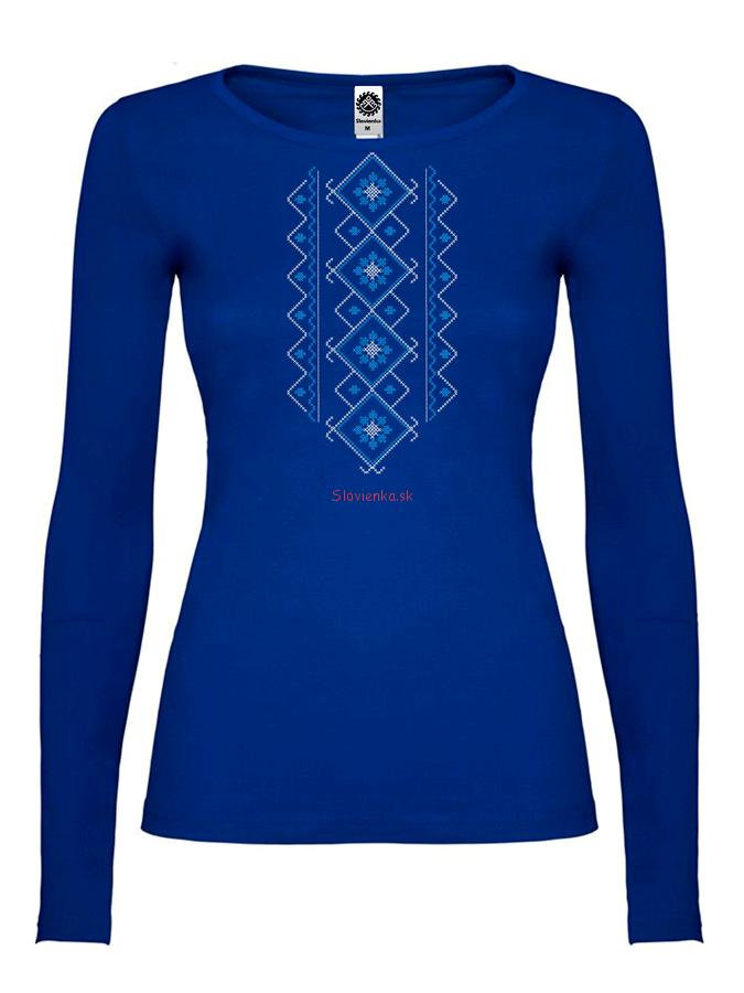 98b90c099cc1f Tričko dlhý rukáv, vyšívaný slovanský vzor (modro biely)   Slovienka.sk