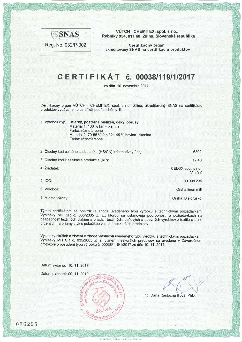 Ľanové produkty_slovienka.sk certifikaty