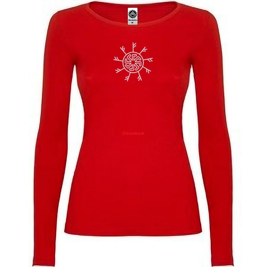 vyšívané-červene-tričko-žena-dlhy-rukav-runy-fehu-Ladinec-biela-slovienka.sk