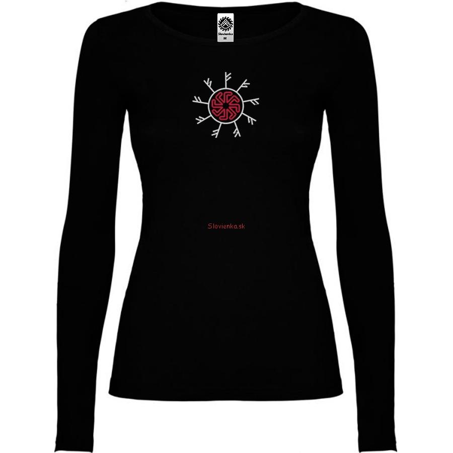 vyšívané-čierne-tričko-žena-dlhy-rukav-runy-fehu-Ladinec-bielo-červena-slovienka.sk