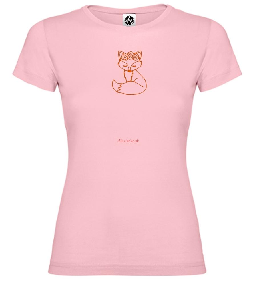 Dievča-ružové-tričko-Líška-s-ružou-obrys-12-cm-slovienka.sk