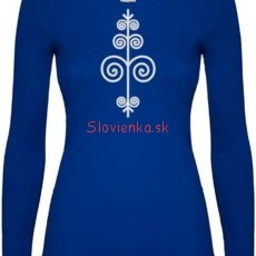 vysivane-kralovska-modra-tricko-zena-dlhy-rukav-biela-cicmany-slovienka.sk